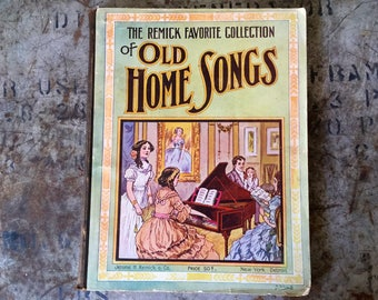 Sheet Music Book, Antique Remick Favorite Collection of Old Home Songs, 1909-1912 Music Book, Song Book Published in USA