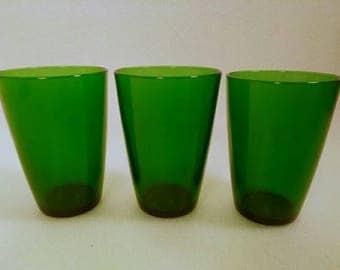 Set of 3 Dark Emerald Green Juice Glasses
