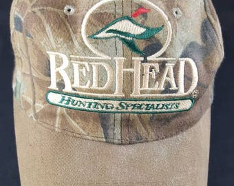 Redhead Hunting Specialists Camoflauge Realtree Made In USA Snapback Hat Vintage 90s FREE Shipping Camo