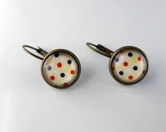 Earring bronze blue/white/red polka dots