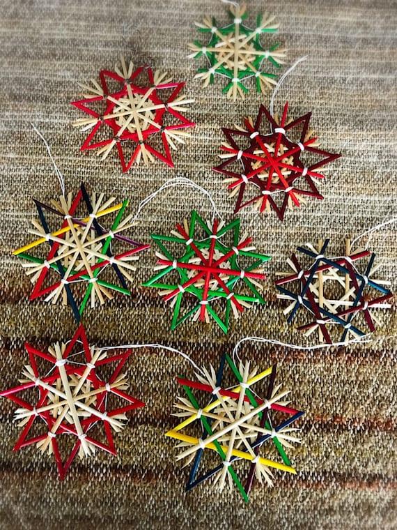 Handmade Traditional German Straw Stars Strohsterne Christmas Weihnachten Ornament