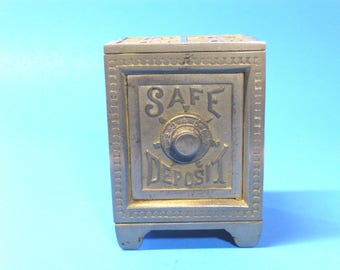 "Cast Iron Bank ""SAFE DEPOSIT""  Late 1800's"