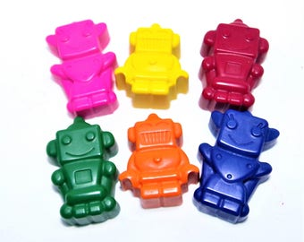 Robot Crayons | Robot Shaped Crayons | Birthday Gift | Robot Figures | Robot Lovers | Robot Party Crayons | Party Favours | Novelty Gift