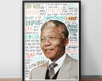 Nelson Mandela Hate Love Print / Poster Hand Drawn Typography Quotes  Political Print / Poster