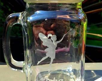 Personalised Engraved Fairy Mason Drinking Jar - New