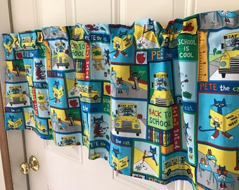 Pete The Cat Back to School classroom curtain Valance