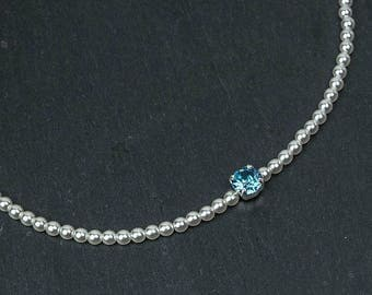 TESSA bridal necklace with Swarovski crystal aquamarine rhinestone and ivory or white crystal pearls