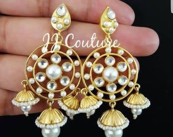 Designer Bollywood Gold Jhumki Kundan Earrings Indian Jewelry Polki Jewelry Kundan Jewelry Bollywood Jewellery
