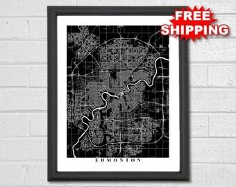 Edmonton map print etsy edmonton map art black and white canada print custom map travel gumiabroncs Images