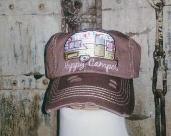 Distressed Vintage Camper Ballcap