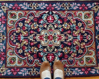 Small vintage rug, small rug, Persian rug, floral rug, rose rug, blue rug, Persian rug mat, bathroom rug, enterway rug, kitchen rug, CAS7