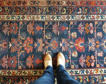 Antique Persian rug, blue Persian rug, antique blue rug, Hamadan rug, floral rug, antique rug, worn rug, runner rug, vintage rug, CAS26