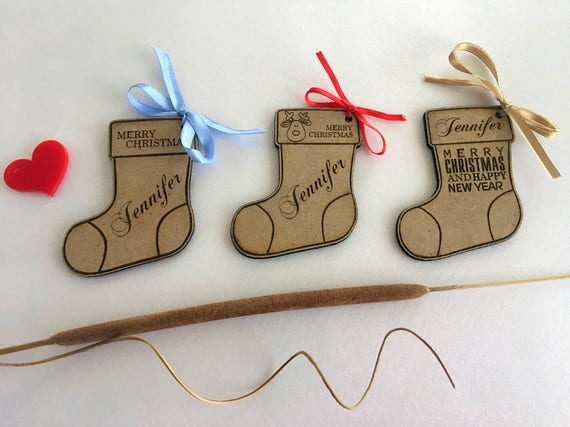 Stocking Gift tags Personalized Christmas gift tags Engraved Wooden tag Custom Stocking Ornament Babys First Christmas Name tree decorations