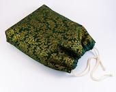 Pochon tissu Noël, doublure coton, cordon serrage coton, fond plat, sac-cadeaux Noël