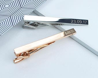 Rose Gold or Silver Personalised Tie Clip, Personalised Men's gift, Personalised gift for groom, Engraved tie pin, Gifts for wedding party,