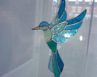 Stained glass blue bird suncatcher (B)