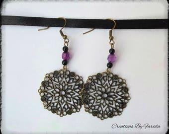 Purple dangle bronze earrings with pearls