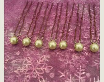 set of 7 hair pins with pearl beads lime beads