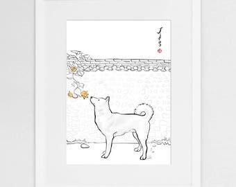 Jindo Gae Korea (Large)Art Print Poster, International Doggy Sumi-e Painting Illustration Asian Korean Kiwa Zen Ink Drawing Dog Lover