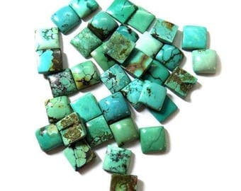 25-P Wholesale Lot Of Natural Turquoise square Shape Loose Gemstone Cabochon