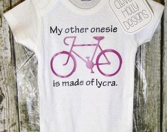 """Biking Onesie • Bicycle Onesie • Cycling Bodysuit """"My other onesie is made of lycra"""" (long sleeve, short sleeve bodysuit) [baby biking gift]"""