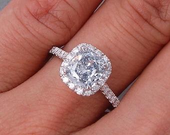 1.65 ctw Cushion cut diamond ring with a breathtaking 1.21 ct Blue Lab Grown center diamond