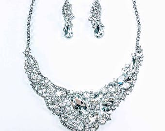 Wedding & Bridal - Silver Statement Bridal Necklace and Earring Set