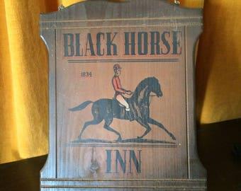 Wood, pine/cedar, historical, pub sign, English pub, Black Horse Inn, hand painted, hand screened,