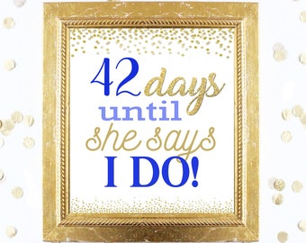 Bridal Shower Countdown Sign Customized - Blue and Gold - Instant Printable Digital Download - diy Bridal Shower Printables Games