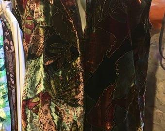 1980' classic printed velvet long vest. Size S/M.