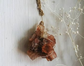 Aragonite Wire Wrapped Pendant/ Raw Crystal Pendant
