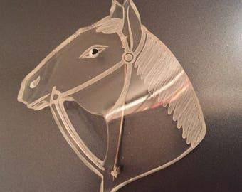 Vintage reverse carved lucite horse brooch