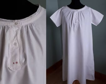 Victorian chemise cotton nightgown vintage nightdress antique shift small petite size lacy trim with laundry monogram crisp white cotton ACW