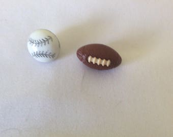 Sports buttons - football and baseball