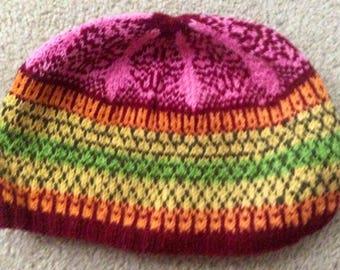 Hand knit Fair Isle hat small adult