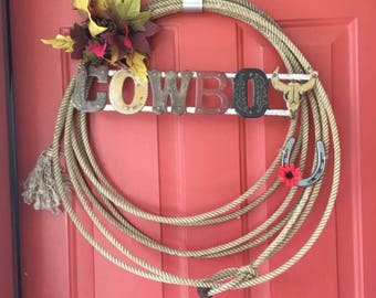 Old Cowboy Rope and Barbed Wite Wreath's