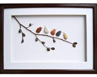 Birds wall art, Pebble art birds, Nursery decor, Rustic home decor, New home housewarming gift, Framed wall art, Bird lover gift, Nature art