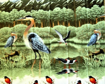 Bird Fabric Panel*American Wilderness Birds SSI*Blue Heron Fabric*Bird Sanctuary*Eagles*Canada Geese*Cotton Fabric*Wild Birds*Birds in Marsh
