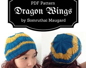Dragon Wings. PDF Knitting Pattern. Knitting Hat Pattern. Instant Download Knitting Pattern.