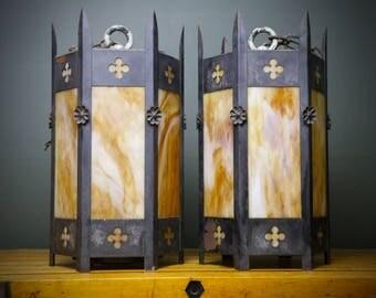 1900's Arts & Crafts Chandelier Slag Glass Antique Vintage Porch Hall Dome Cross Light Fixtures Medieval Castle church Funeral Home Decor