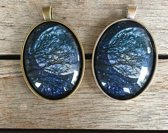 Large Oval Pendant - Tree and Moon