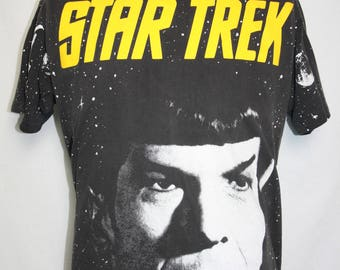 Vintage Star Trek 1994 Par Pic Captain Kirk Size Large ACME All Over Print Cotton T Shirt Double Side Graphic Black