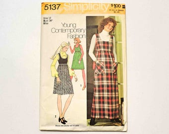 Simplicity Sewing Pattern 5137 Vintage Misses' Jumper in Two Lengths Size 12