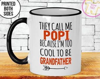 Popi Mug, Father's Day, Being a Popi, Popi Gift, Personalized Father's Day, Gift for Popi, New Grandfather Gift, Popi, Coffee Cup