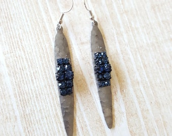 Gunmetal Blue Rhinestone Earrings