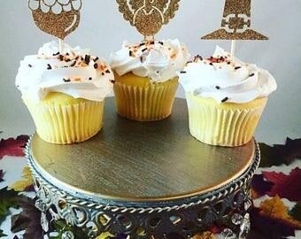 Christmas in July Sale Thanksgiving Glitter Cupcake Toppers, Acorn Turkey Pilgrim Hat Cupcake Toppers, Fall Glitter Cupcake Toppers - Set of
