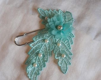 back train, tie shawl pin green water beads and white lace or ivory bridal wedding accessory wedding