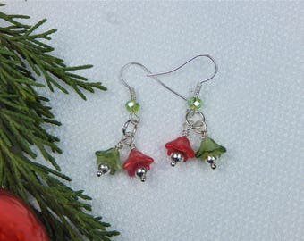 Red and Green Christmas Flower Earrings (CE9)