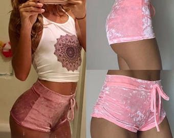 Elastic VELVET mini shorts in pink, wine and gold **free shipping**