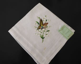 Vintage Swiss cotton handkerchief Lily of the Valley and Butterfly #136